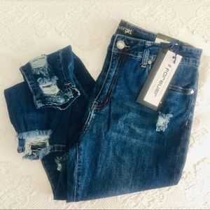 Juniors' distressed #Forever jeans, size 13/14